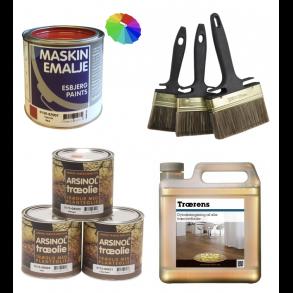 Maling, Træolie og Maskinemalje